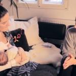 Natalie stillt ihr Baby